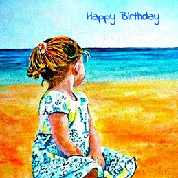 Birthday girl, beach, water, sea, for her, sand, sky personalised online greeting card