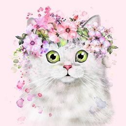 General Cat, Persian, Feline, Floral personalised online greeting card