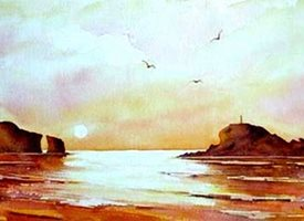 art Cornwall seascapes sea sunset for -her for-him  personalised online greeting card