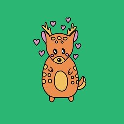Dottie Mottie Fawn deer - blank for your message  personalised online greeting card