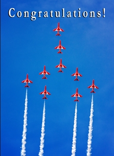 congratulations ^red arrows^, RAF, aviation, aeroplane, airplane, jet, plane, congratulations personalised online greeting card
