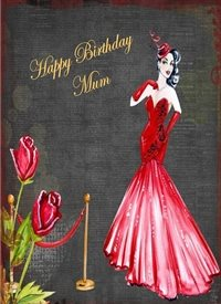 Birthday Retro dress lady grey red gold happy  personalised online greeting card