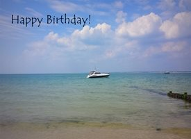 Wonky Doodle Designs Ocean views Birthday ocean seaside sea boats ship z%a personalised online greeting card