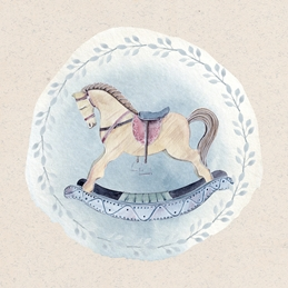 Baby Boy Blue Rocking Horse Watercolour
