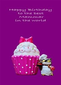 Birthday  cupcake owl purple pink happy  z%a personalised online greeting card