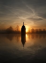 photography Bushy Park, Sunrise, Diana Fountain, Royal Park, Photograph personalised online greeting card