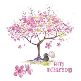 Mothers Cherry Blossom, Spring, Birds, Tree personalised online greeting card