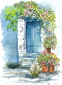 art flowers French building blue door bougainvillea flower pots sunny steps  personalised online greeting card