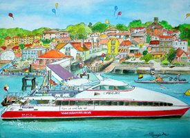 art general Isle of wight holiday fun joy celebration peace children family ferry  z%a personalised online greeting card