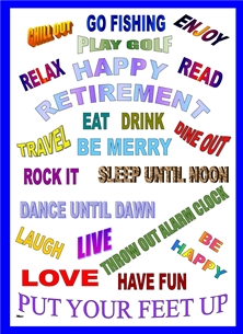 Retirement Retirement For - Him Words Text Letters Red blue green yellow purple orange white Wholesale personalised online greeting card