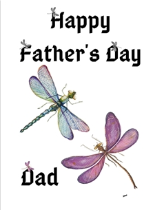 Fathers For Him Dragon Flies Purple Blue White Black Happy  personalised online greeting card