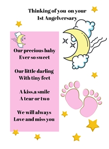 Baby Feet,Pink,Moon,Stars,Baby Loss, personalised online greeting card