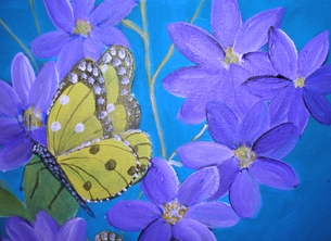 Butterflies on Purple Clematis (t s)