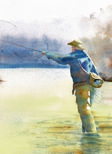 General man, fishing, fly fishing, retirement, birthday, male personalised online greeting card