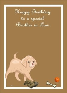 Birthday Puppy Old Boot Bone Ball Light Brown White Orange Happy  personalised online greeting card