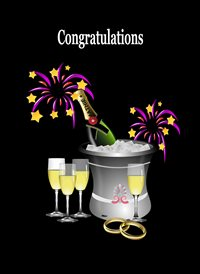 Congratulations Ice Bucket Champagne Decorations Flutes Grey Gold Black Purple Happy  z%a personalised online greeting card