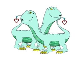Children General valentine love romance dinosaurs animals personalised online greeting card