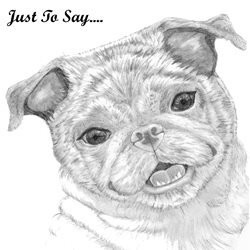 Thank pug, dog, puppy, animals  z%a personalised online greeting card