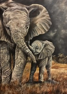 Art By Three  A Mothers Love fineart Elephants animals wildlife zoos  for-him for-her for-child trunks grey  babies nature   cute safari fineart oils mums dads general blank all occasions art him her kids children personalised online greeting card