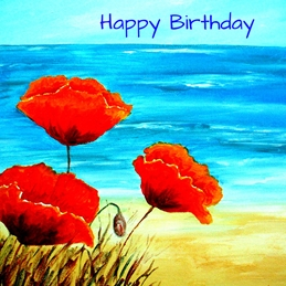 Birthday artwork sea beach seascape poppies flowers for-her personalised online greeting card