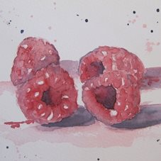 art Raspberries, fruit, still life, red, personalised online greeting card