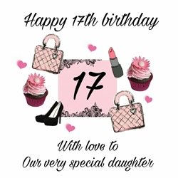 Birthday Teenager, 17th, celebrate, girly, family personalised online greeting card
