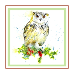 christmas Christmas, owl, holly berries, wild life painting,  personalised online greeting card