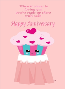 Anniversary For Him For Her Humorous Cup Cake Table Pink Blue Black White  personalised online greeting card