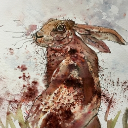 Sheila O'Brien Artwork Hare Art Hare, watercolour personalised online greeting card