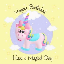 Birthday Children Unicorn, Magical, Mystical, Fantasy, yellow personalised online greeting card