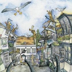 Art  greeting cards by Wendy Brown Art  Blank, Townscape, Town, Architectural, Lymington, Buildings The Cobbles, Lymington