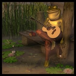 Art General frog water pond nature music guitar anthro animal melancholy  personalised online greeting card