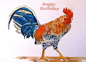 Birthday cockerel hen bird brown orange red dad son  granddad friend uncle mum daughter Nan aunt   personalised online greeting card