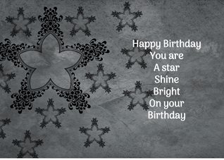 Birthday for-him, for-her,star, grey, white, celebration, happy personalised online greeting card