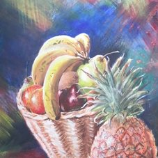 art fruit, basket, pineapple, apple pear, colourful, bright,  personalised online greeting card