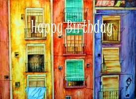Birthday Spanish colourful bright vibrant  z%a personalised online greeting card