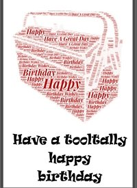 Birthday toolbox, red, men.  personalised online greeting card