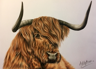 Art By Three  Highland Cow Art Highland Cows Scottish Animals Wildlife For-him Horns hairy Scotland personalised online greeting card