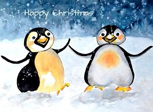 Christmas artwork penguins birds wildlife personalised online greeting card