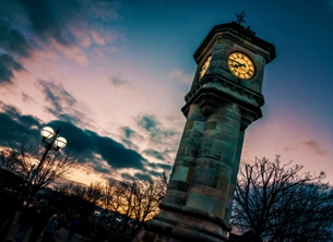 Photography Bangor, andbc, town, clock, tower, sunset, evening, sky, seaside, serene, tranquil, peaceful, Northern Ireland, Ireland personalised online greeting card