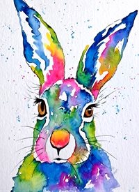 art artwork hare animals wildlife for-him for-her for-children personalised online greeting card