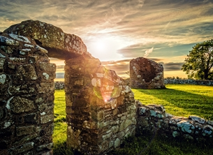 Photography birthday  andbc, strangford lough, sunset, evening, monument, ruins, ancient, abbey, church, spiritual, tranquil, serene,  personalised online greeting card