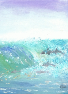 Karen J Jones Wave Front Art Pod of dolphins, Waves, seaside, Ocean, Sealife, beach, surfing, Birthday, for him, for her, for children, coastal scene, water, fish, mammals, aquatic life, turbulence, breaking wave personalised online greeting card