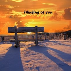 General for-him, for-her, sunset, snow, wooden bench, love, relaxing personalised online greeting card