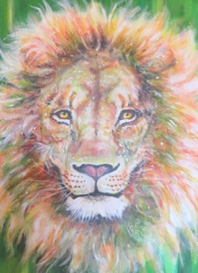 Little Liz Happy Art King Leo Art general lion, leo, king of the jungle, wild animals, Africa, zodiac,  for-him  personalised online greeting card