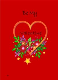 Valentines Heart  Flowers red orange green purple happy  z%a personalised online greeting card