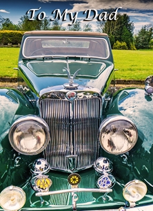 Birthday fathers for-him, father, father's-day, dad, car, classic-car, photograph personalised online greeting card