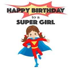 Birthday Children children's, , superhero, girl's personalised online greeting card