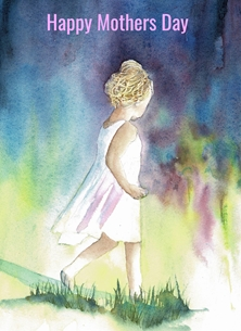 Mothers meadow, child, mothers day, girl, flowers personalised online greeting card
