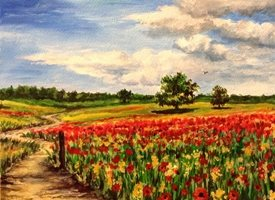 Art By Three  Poppy Field fineart poppies red countryside landscapes art blank general all occasions for-him for-her mums nans aunts sisters her summer flowers fineart meadows trees sky blue grasses fields clouds nature remembrance  personalised online greeting card